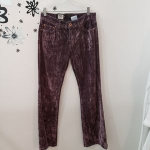 NWT Parasuco Crushed Velvet Purple Pants
